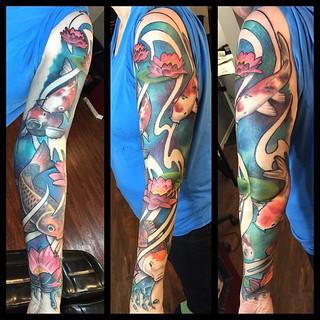 Finished this koitattoo tattoosleeve today! artnouveaut