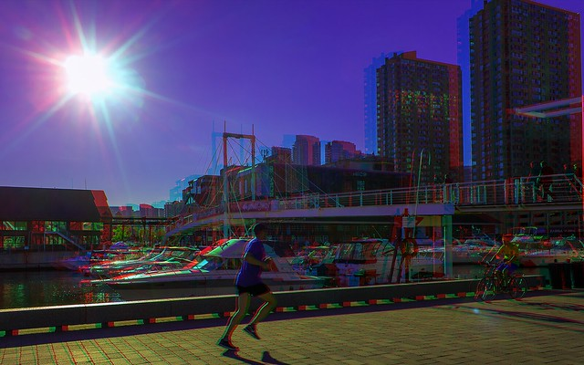 Toronto harbour in the evening 3-D ::: HDR/Raw Anaglyph Stereoscopy