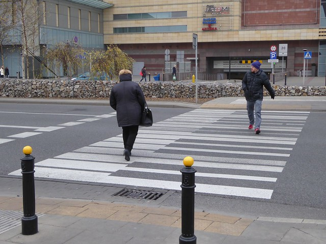 Piano keyboard pedestrian crossing on Emilii Plater Street