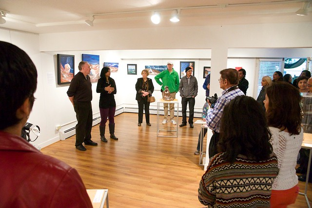 Discovery: A Slice of Diversity. Group Exhibition of Ismaili Muslim Female Artists. Curated by Taslim Samji. Nov 8th-29th, 2014., Taslim Samji (Artist/Curator) and Bill Thomson (President, Burnaby Arts Council)