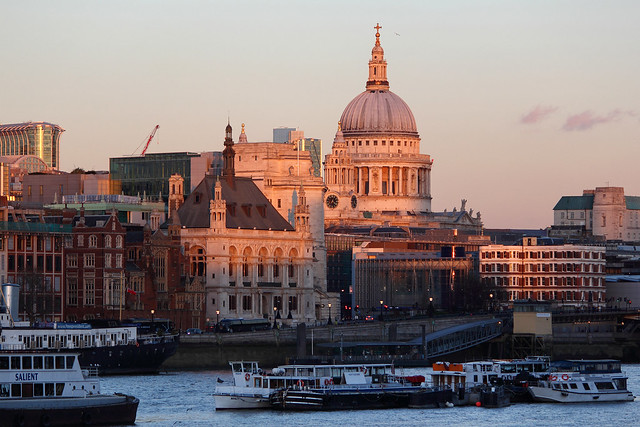 Blackfriars and St Paul's Cathedral seen from the South Bank, London SE1, UK