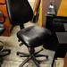 Black leathette reception chair