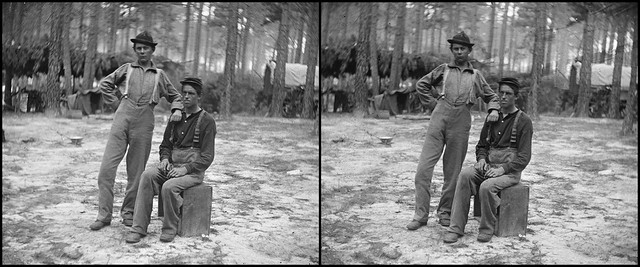 Two youthful military telegraph operators - 3d cross-view