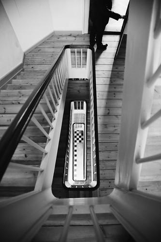 bw man building silhouette stairs canon denmark person blackwhite candid streetphotography staircase creativecommons exit danmark streetview candidphotography canoneos5d canonef24105mmf4lisusm canonshooter peterras peterkirkeskovrasmussen peterkrasmussen gyldenholmgods