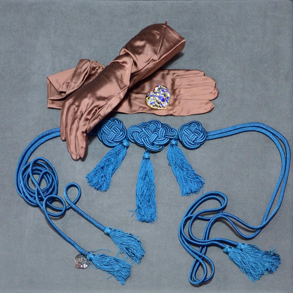 Belt - Yves Saint Laurent Brooch - Satin Gloves