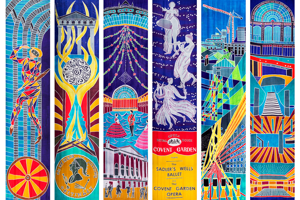 Silk banners 1–6 telling the history of the Royal Opera House, designed by Ali Pretty and Mark Forrest for Kinetika
