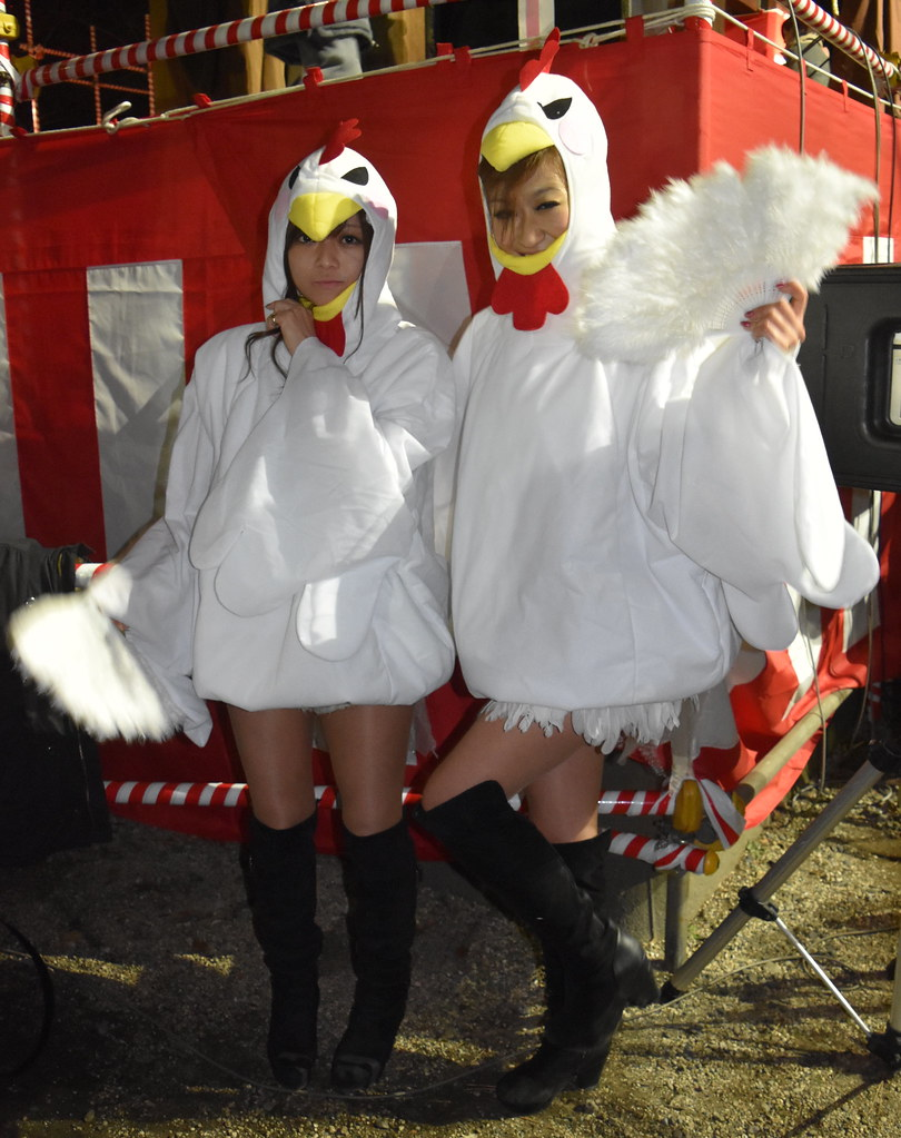 Japanese Rooster Girls on New Years in Tokyo