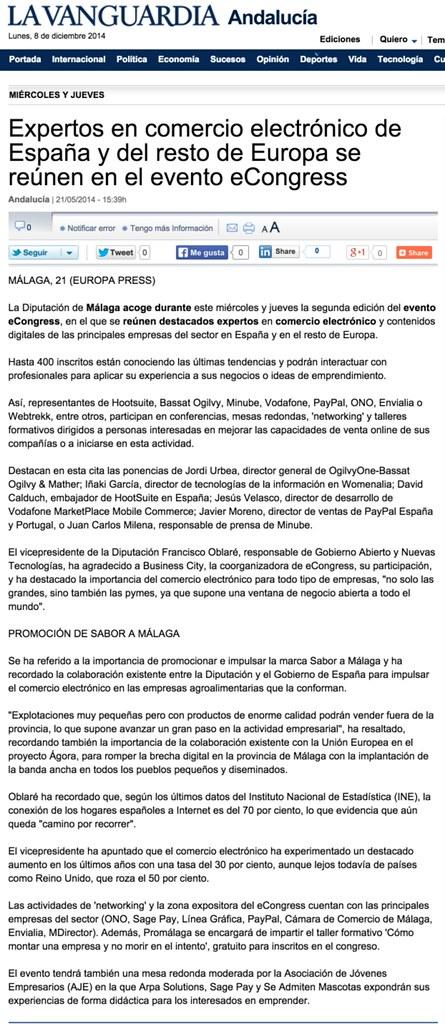 2014-05-21 La Vanguardia Andalucia - Expertos en comercio electrónico de España y del resto de Europa se reúnen en el evento eCongress - David Martinez Calduch
