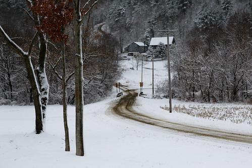 woods hills dirtroad snowfall hollows snowcovered winterlandscape andmilestogobeforeisleep