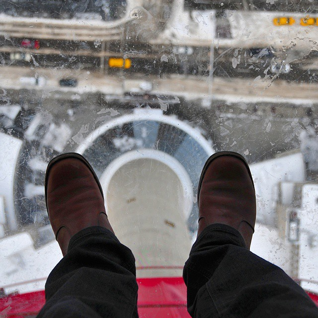 Standing at approximately 190 meters looking down