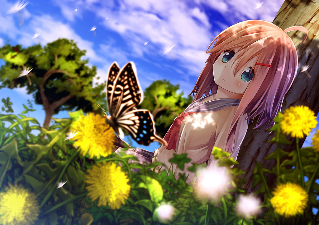 Anime Girl In Sunflower Field Hd Wallpaper A Photo On Flickriver