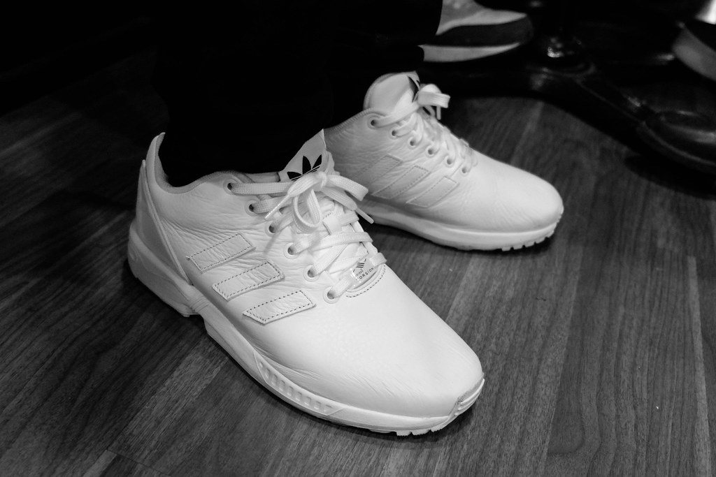 new products cb7d8 f0705 ... Adidas ZX Flux All White Leather On Feet   by dzxng