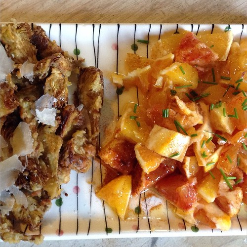 Fried artichokes with parmesan and sicilian orange salad #lunch | by judywitts