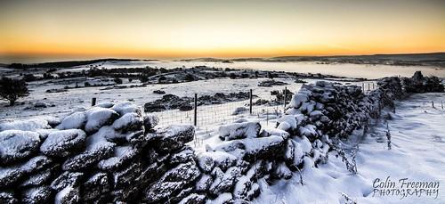 winter light shadow sky cloud sun white mountain snow colour field fog stone wall wales sunrise fence landscape golden nikon hill ground hour d750 snowing bryn clwyd alyn