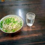 Miyako-soba noodle at Darumasoba diner Okinawa, JAPAN