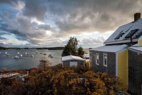 autumn fall clouds islands harbor maine stonington snowfallbarnfallautumnmaineyellowhousestonington