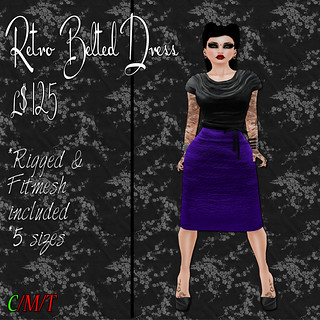 SC Retro Belted Dress - Black & Purple Ad