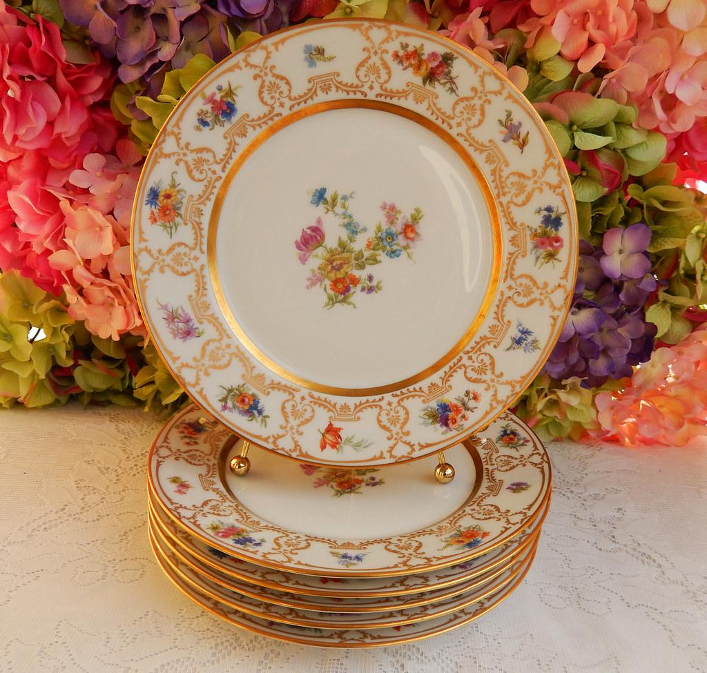 6 Vintage Guerin Limoges Porcelain Dinner Plates ~ Dresden