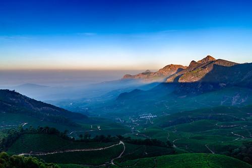 sunrise haze estate tea earlymorning hills greenery munnar teaestate clubmahindra kolukkumalai nikond600 sigma240700mmf28 clubmahindramunnar
