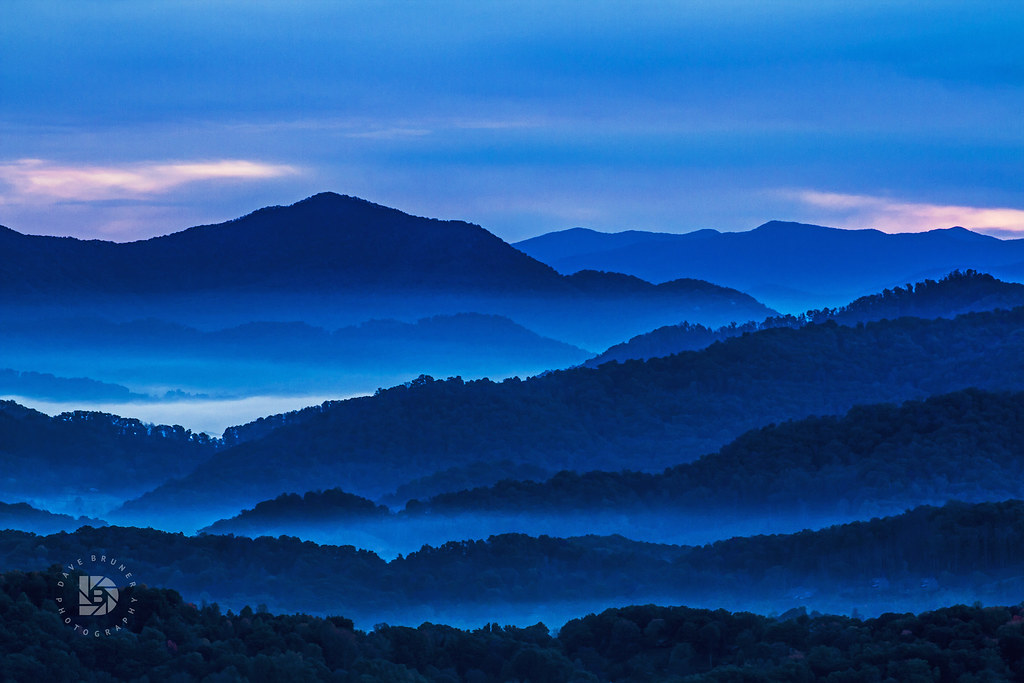 Early Morning Sunrise In The Blue Ridge Mountains Of North