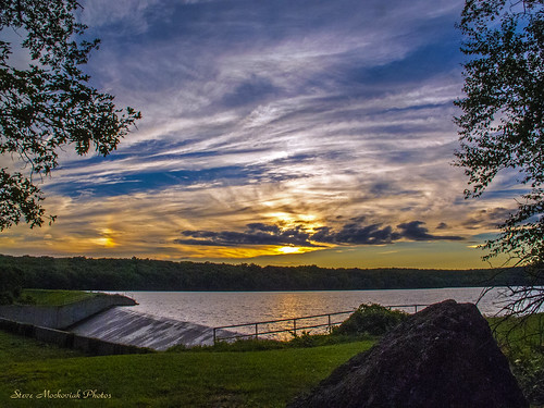 trees sunset summer sky lake water rock clouds canon evening newjersey pond dam powershot reservoir summertime paintedsky spillway g12 westmilford smack53