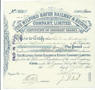 Milford Haven Railway & Estate Share Certificate 1882 | by ian.dinmore