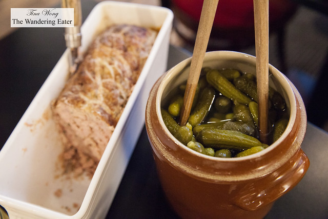 House terrine and cornichons instead of butter for your slices of bread