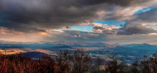 sunset panorama mountain clouds virginia nikon view cloudy d300 rockfishvalley nikkor35mmf18g bobmical