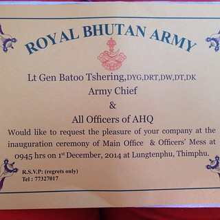 Beautiful Done Invitation Card From The Royal Bhutan Army Flickr