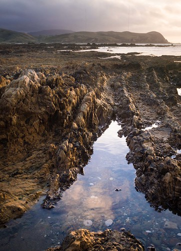 sunset newzealand reflection beach landscape plimmerton rockpool