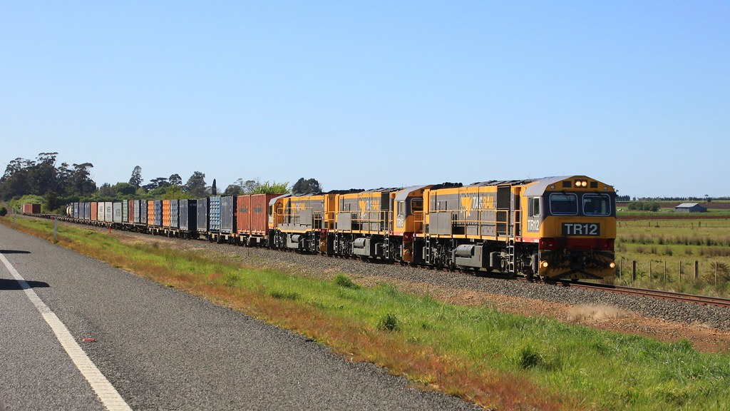 TR12 TR15 and TR03 are on their way to Burnie with train #36 seen paralleling the Bass Hwy East of Westbury by bukk05