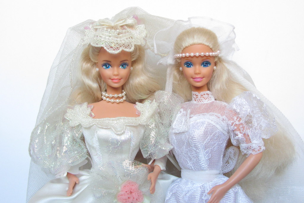 two bridal barbies