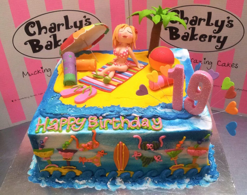 Wondrous Square Beach Themed Cake With 3D Bikini Girl Figurine 3D Flickr Funny Birthday Cards Online Elaedamsfinfo