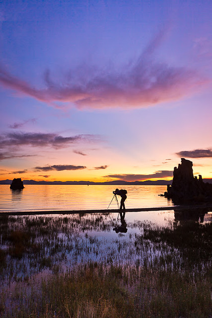Mono Lake Tufa State Natural Reserve: Photographer at Sunrise (Vertical)