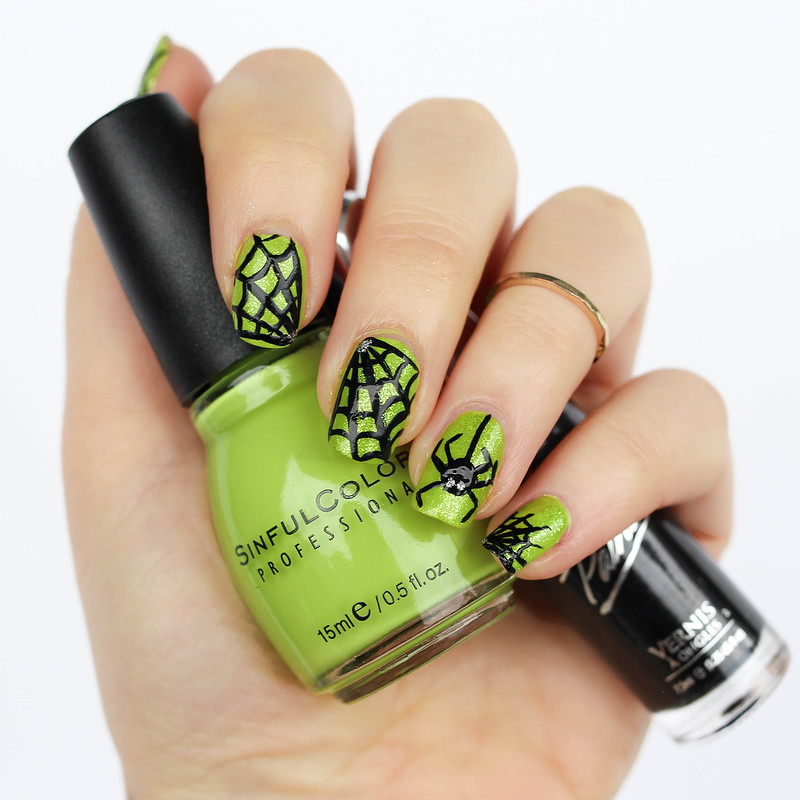 Spider Spiderweb Manicure Nail Art Halloween Mani Lime Green Nail Polish | Crazy Halloween Nails | 6 Halloween Manicures That are SCARY Good | Halloween Nails | Nail Art | Nail Designs | Spooky Nails