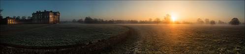 park winter sun mist cold colour building ice fog sunrise canon hall frost shropshire stitch pano shrewsbury 6d attingham