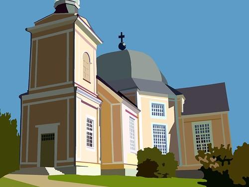Rääkkylä Church in ms paint