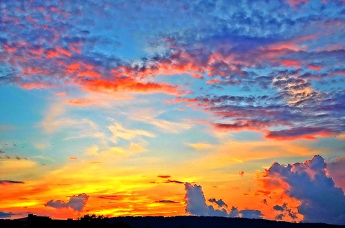 blue sunset red sky orange sun white chattanooga beautiful yellow clouds flickr glow tn horizon fluffy ripples rays