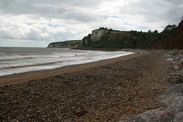 The beach at Seaton looking west