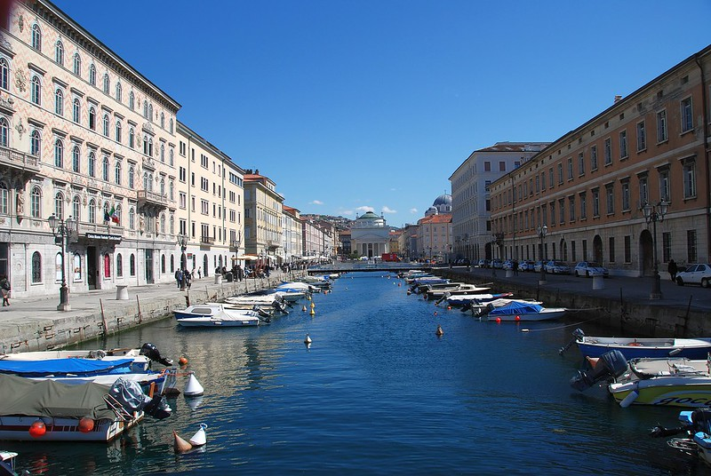 Trieste - Looking Down the Canal Grande Towards the Chiese Cattoliche Parrochiale S. Antonio Taumaturgo