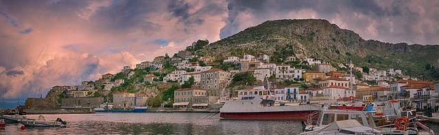 Το λιμάνι της Ύδρας Port of Ydra panorama