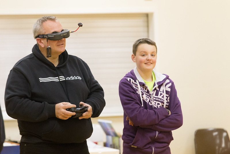 Phil flying round the hall using the camera on the new FPV Vapor.