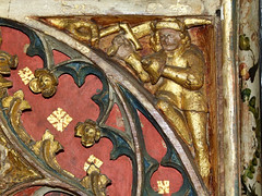 Mattishall screen: Turk with a scimitar and bell shield (15th Century)
