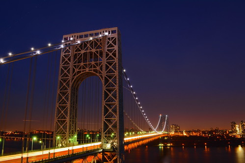 nyc longexposure bridge blue sunset usa newjersey twilight nj nighttime hudsonriver hudson bluehour gwb fortlee georgewashingtonbridge