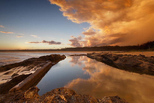 ocean sunset cloud reflection pool pacific australia nsw sawtell