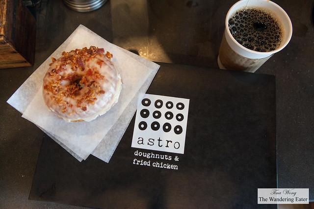 Maple Bacon doughnut and coffee