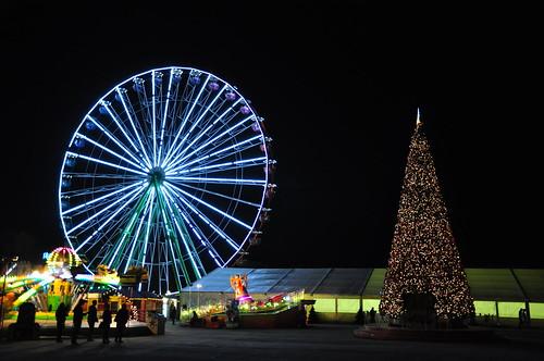 christmas sunset seascape tree nature car wheel night landscape lights nikon dof cyprus christmastree lunapark aviator bnw limassol d90 supermoon