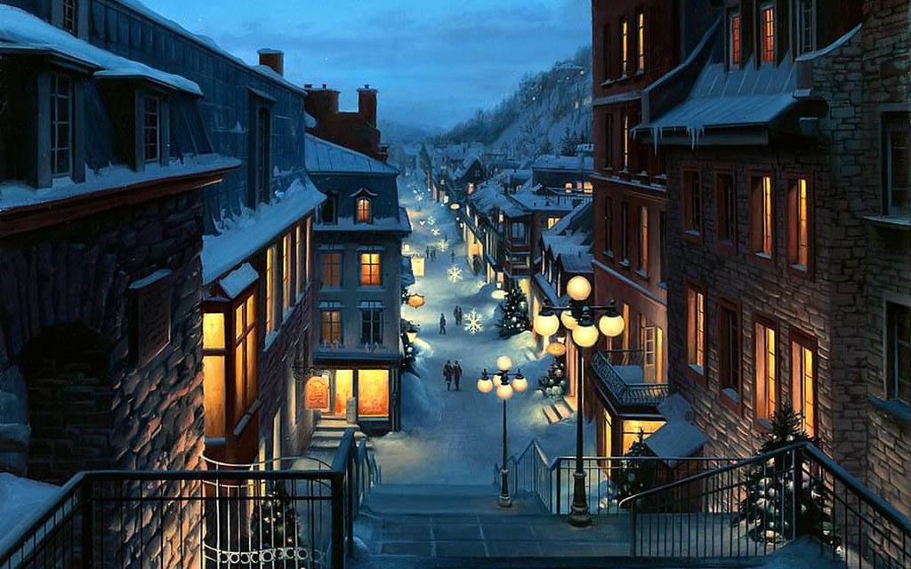 Christmas In Europe Wallpaper.Europe City Winter Christmas Night Hd Wallpaper Stylish