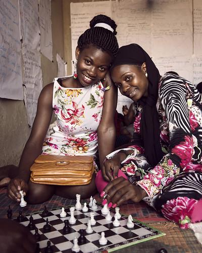 Florence and Diana play chess ikaaya girls' club in northern Kampala   by World Bank Photo Collection