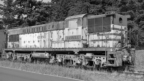 photo flickrelite 844steamtrain baldwin as616 as 616 diesel engine train locomotive vintage classic old rusty abandoned travel tourism adventure events science technology history photography transportation flickr oregon northwestern pacific northwest machine metal railroad railway canon video camera black white america vehicle outdoor